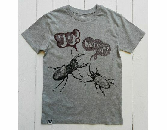 Lion of Leisure Beetles Print T-Shirt - Grey