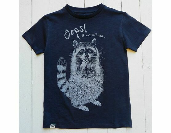 Lion of Leisure Racoon Print T-Shirt - Navy