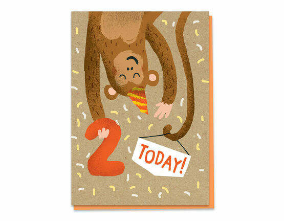 Second Birthday Monkey Card - Age 2