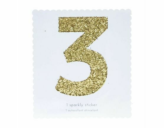 Meri Meri Number Chunky Gold Glitter Sticker - 3