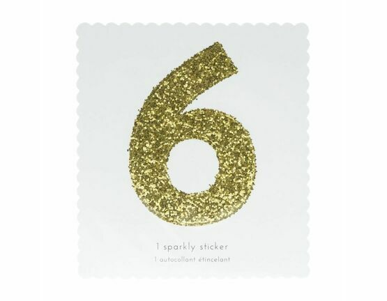 Meri Meri Number Chunky Gold Glitter Sticker - 6