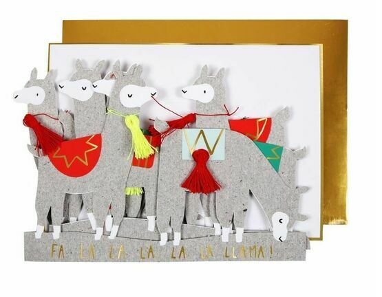 Llama Concertina Christmas Greeting Card