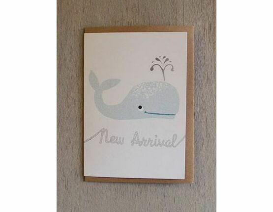 Whale Riso Baby Card - Teal