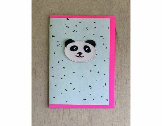Embroidered Panda Patch Card