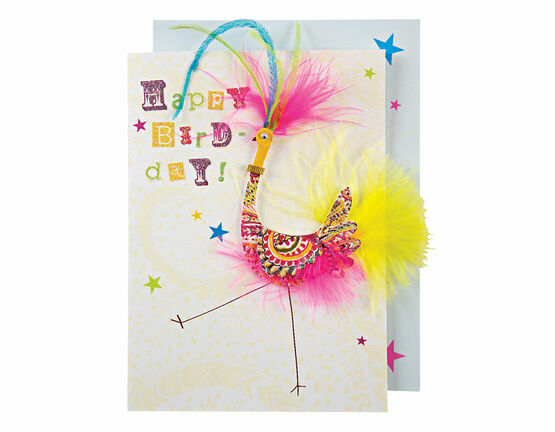 Patterned Bird with Feathers Greeting Card