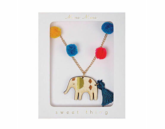 Elephant & Pom Pom Necklace