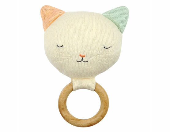 Organic Knitted Cotton Cat Rattle