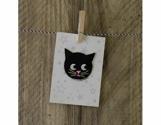 Embroidered Iron-on Fabric Patch - Cat