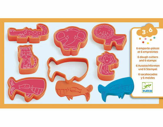 Djeco 6 Modelling Dough Cutters and 6 Stamps - Wild Animals