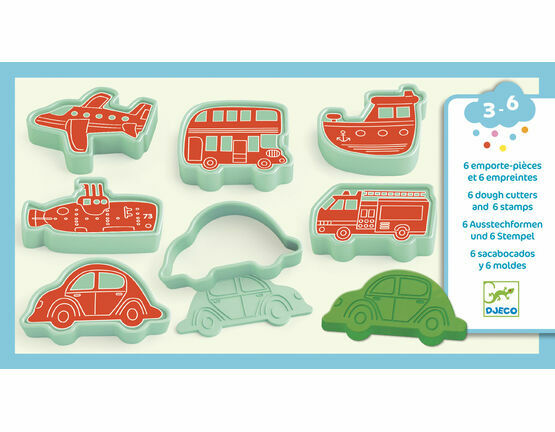 Djeco 6 Modelling Dough Cutters and 6 Stamps - Vehicles