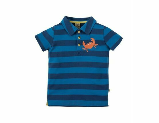 Penwith Polo Shirt - Marine Blue Stripe / Crab