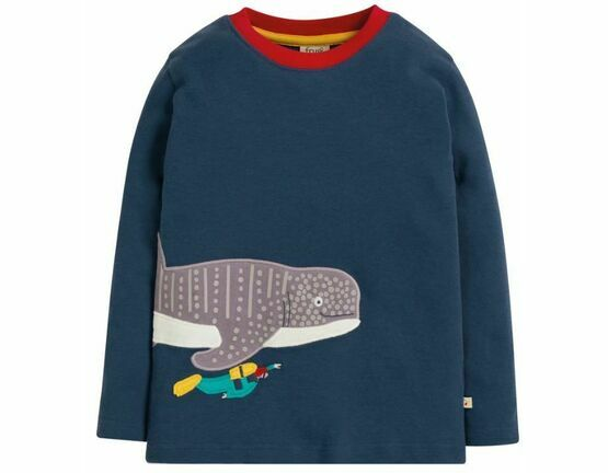 Frugi Joe Applique Whale Shark Top - Space Blue