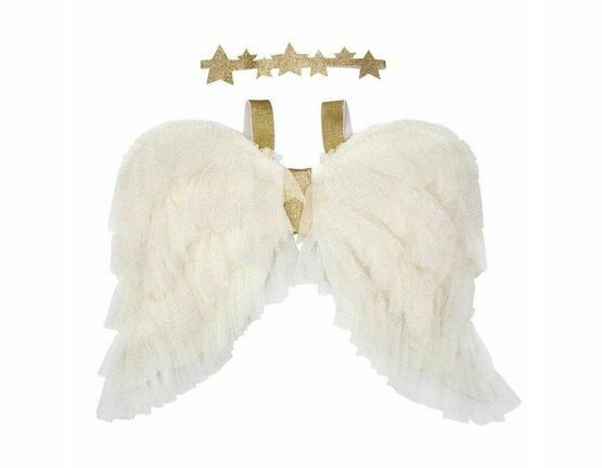 Meri Meri Gold Angel Wings & Halo Headband Dress Up Set