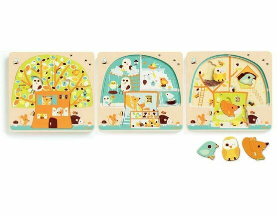 Djeco 3 Layer Wooden Puzzle - Tree House / Chez Nut