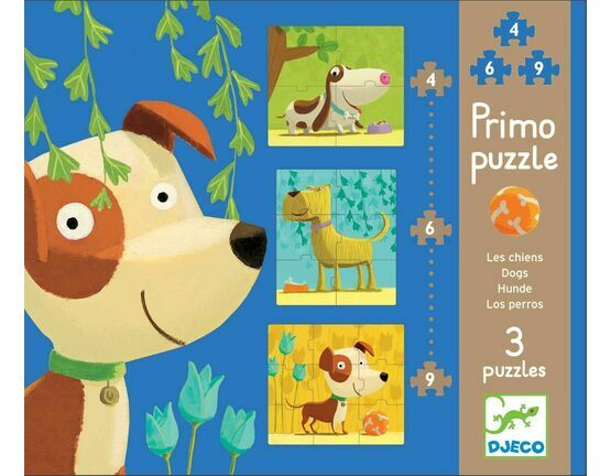 Djeco Primo Set of 3 JIgsaw Puzzles - Dogs