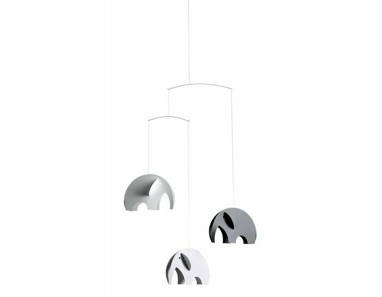 Flensted Mobiles Olephants Black, White and Grey 3D Mobile
